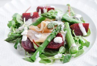Asparagus, Beetroot & Smoked Salmon Salad