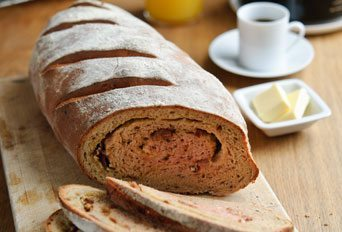 Beetroot, bacon & cheddar brunch bread