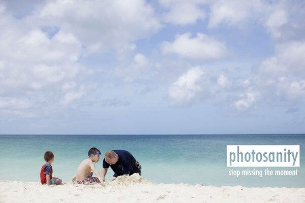 family on beach caribbean