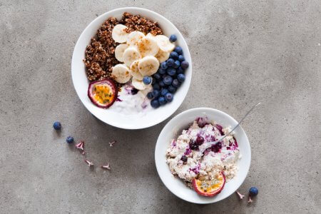 Quinoa and fruits for breakfast