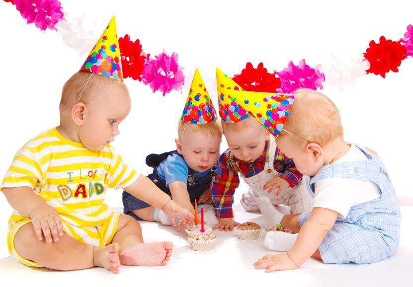 Four lovely toddlers at the birthday party
