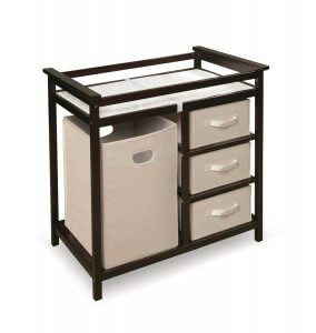 Badger Basket Modern Changing Table with 3 Baskets and Hamper