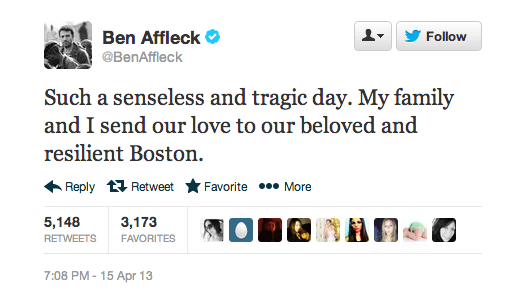 Ben Affleck Boston Marathon Twitter Screenshot