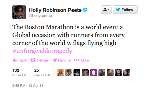 Holly Robinson Peete Boston Marathon Twitter Screenshot
