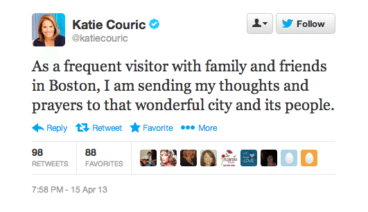 Katie Couric Boston Marathon Twitter Screenshot