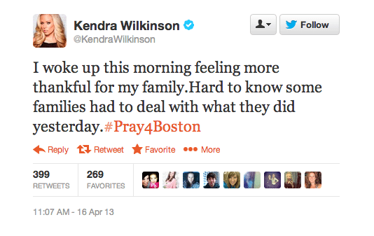 Kendra Wilkinson Boston Marathon Twitter Screenshot