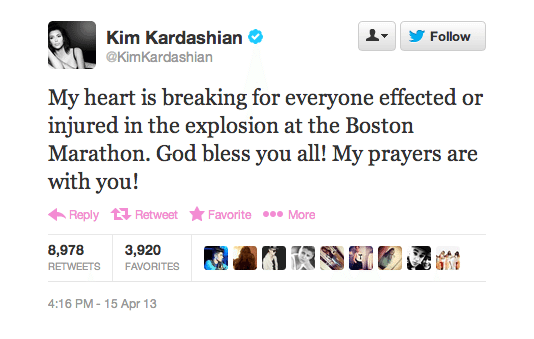 Kim Kardashian Boston Marathon Twitter Screenshot
