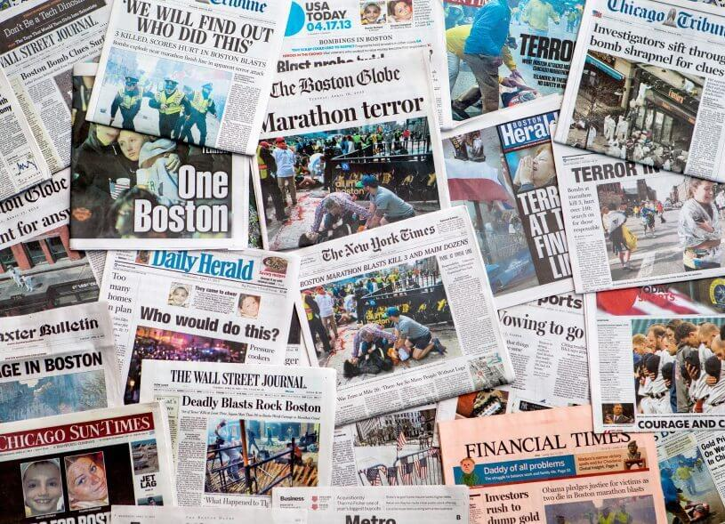 boston marathon headlines on various newspaper