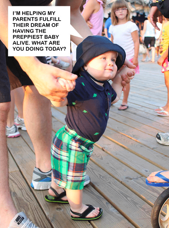 preppy baby on the pier