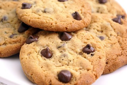 close up of chocolate chip cookies