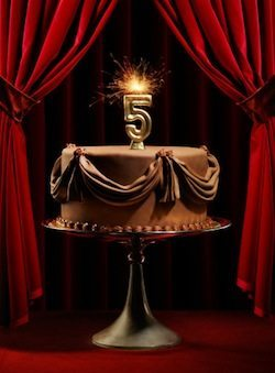 Birthday Cake on Stage with Number 5 Candles