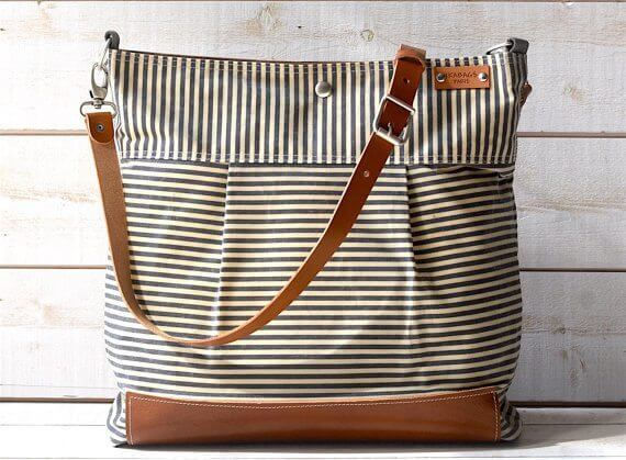 Stockholm Gray geometric nautical striped Leather diaper bag
