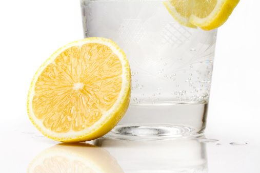 Glass of Sparkling Water with Lemon