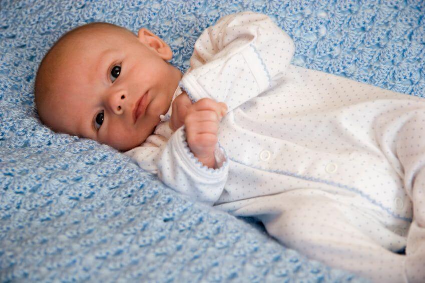 a baby wearing pjs