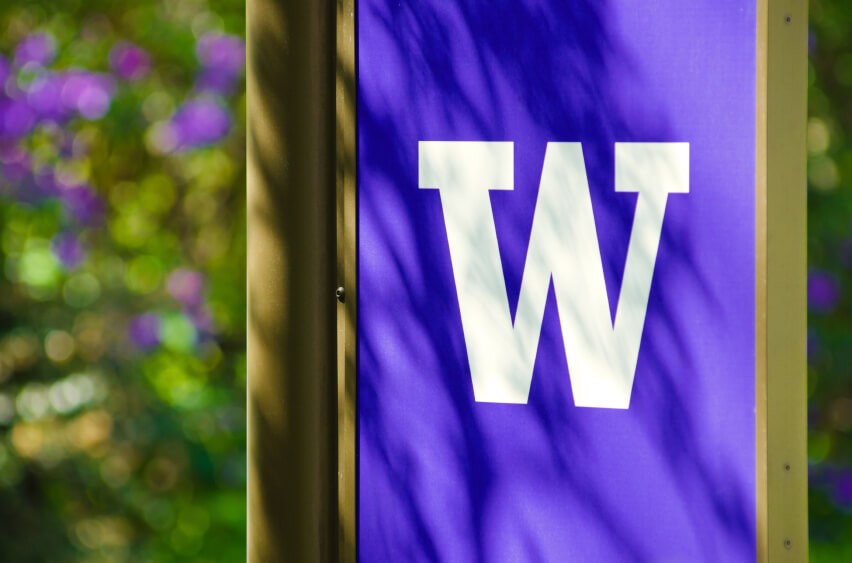 A University of Washington sign