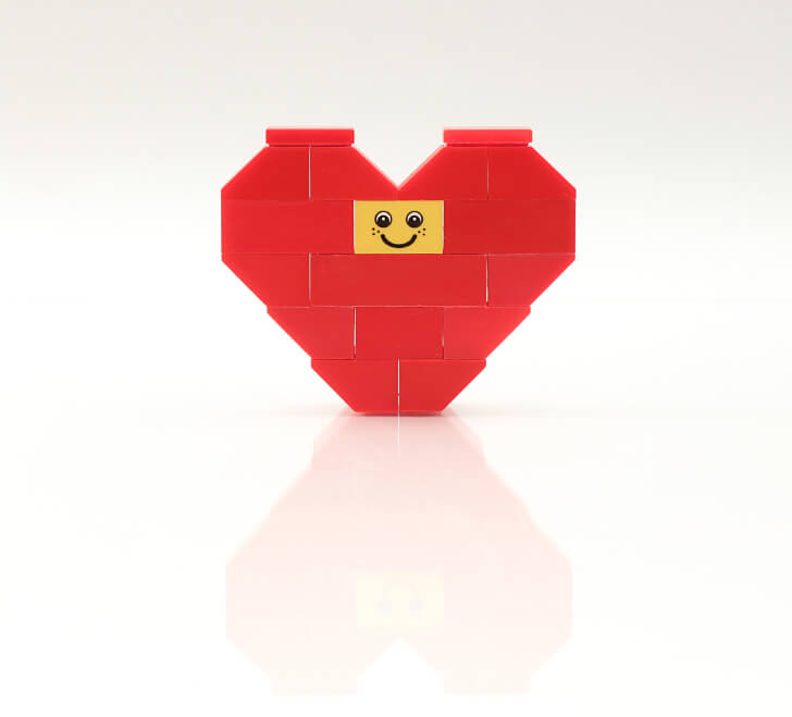 a heart made out of red blocks