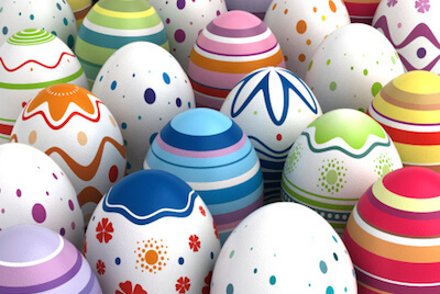 several rows of painted eggs