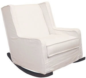 a white rocking chair