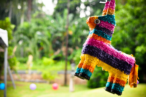 a brightly colored pinata