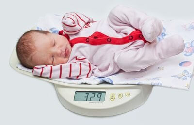 a baby lying on some scales
