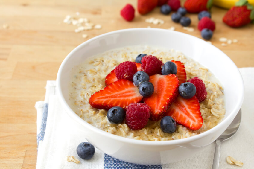 a bowl of oatmeal and fruit