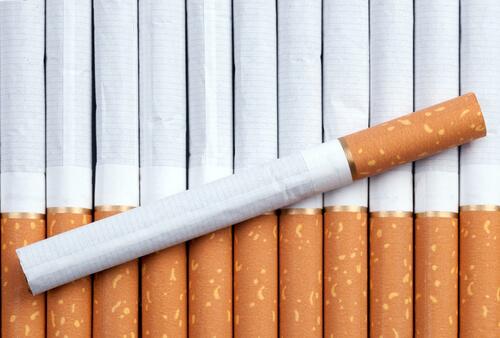a single row of cigarettes