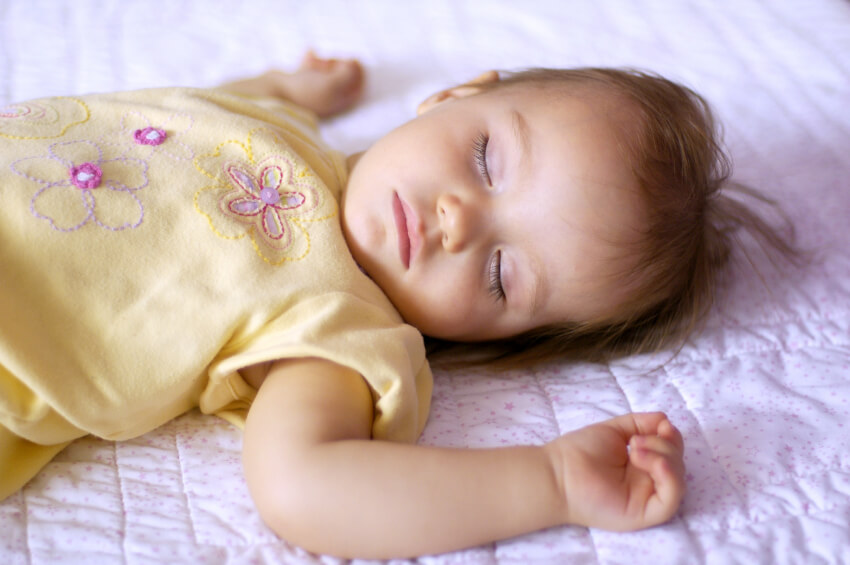 a young girl sleeping