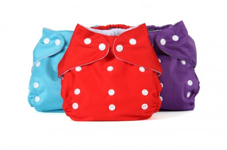three cloth diapers