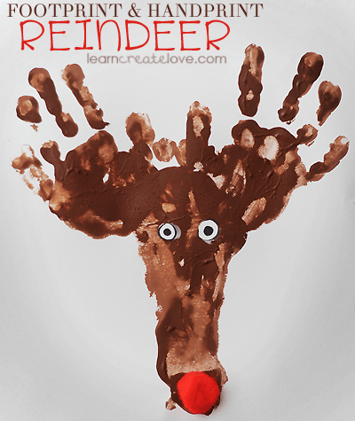 Foot and Handprint Reindeer