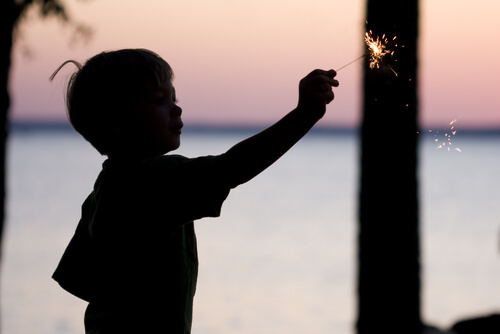 a child holding a sparkler
