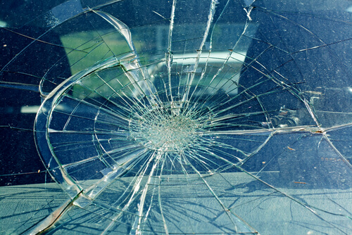 a smashed car windscreen