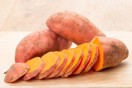 Sliced sweet potato - studio shot