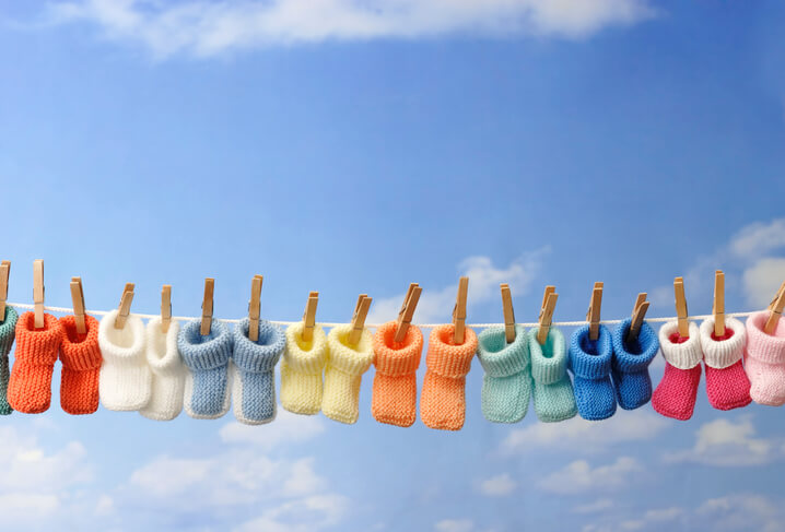 baby booties hanging on a line