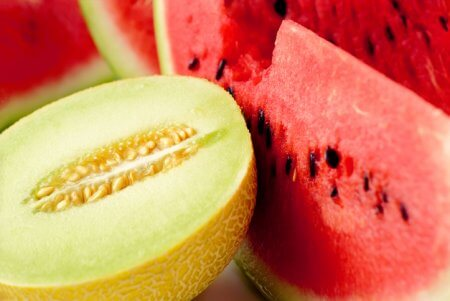 Cantaloupe and watermelons slices
