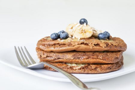 Banana Blueberry Oatmeal Pancakes