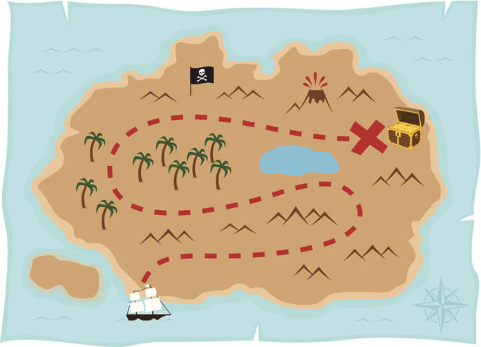 a treasure map with x marking the spot