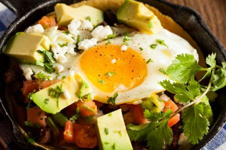Homemade Heuvos Rancheros with Avocado and Cilantro