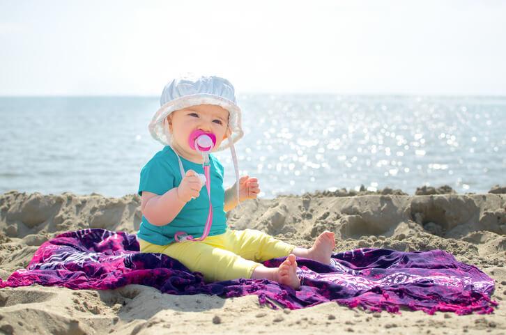 newborn at the beach