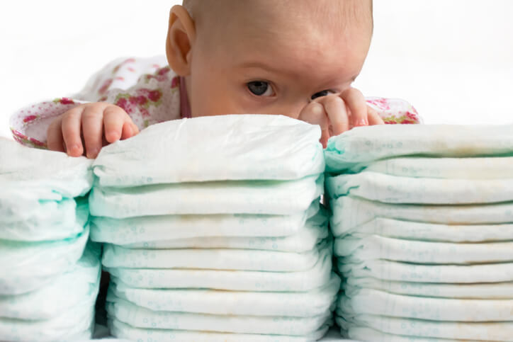 a stack of baby diapers