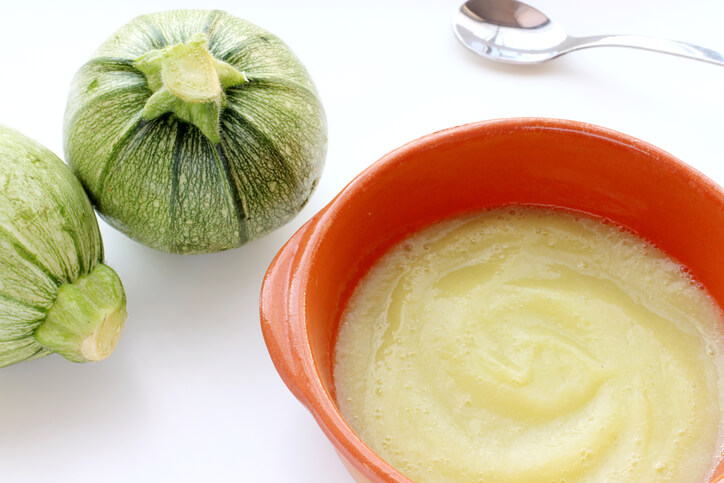 Round zucchini baby food puree