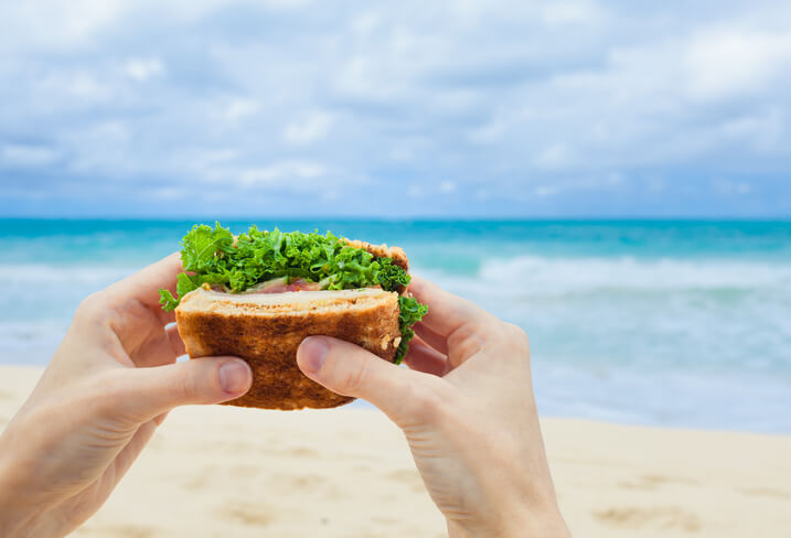 Healthy sandwich on the beach