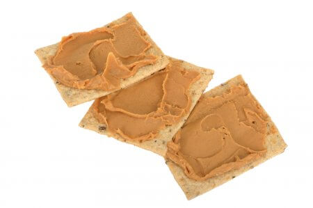 Peanut Butter on Seeded Crackers