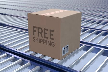 a box with a free shipping label
