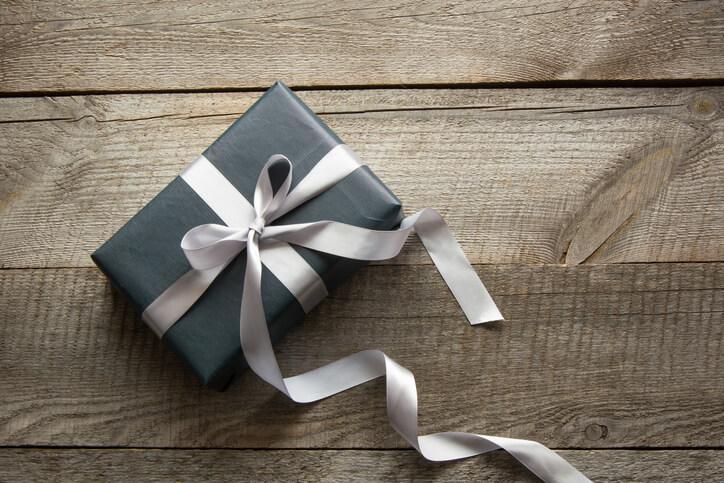 a black wrapped box