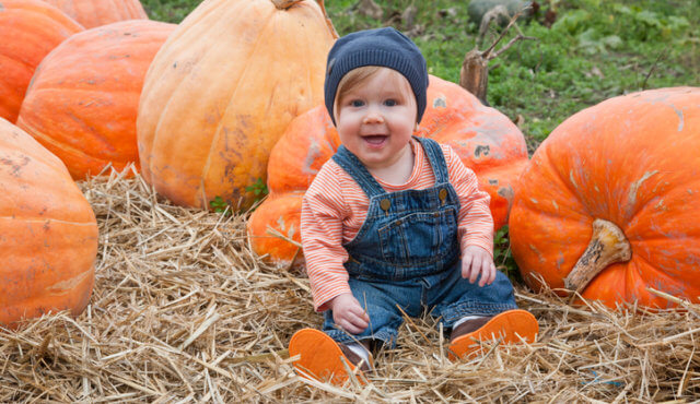 A very happy baby sitting among pumpkins at the farm.