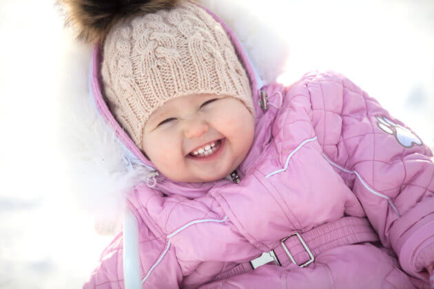 Happy little girl on winter walk